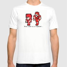 This One's A Fighter White SMALL Mens Fitted Tee