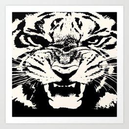 White Tiger Vector Art Print