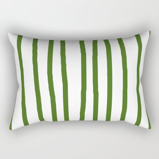 Simply Drawn Vertical Stripes in Jungle Green Rectangular Pillow