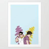 klaine Art Prints featuring Klaine by wellsi