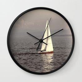 Sailing boat on the lake Wall Clock