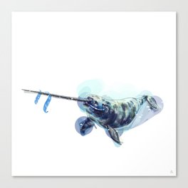 Alphabetical Animals - N is for Narwhal Canvas Print