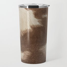 Cowhide Brown and White Travel Mug