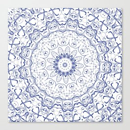 Blue and white mandala | Meditation | Yoga | Buddhism | Third Eye Canvas Print