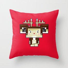 Cute Cartoon Blockimals Reindeer Throw Pillow