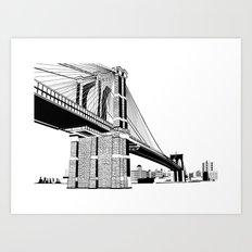 Brooklyn Bridge Black and White Art Print