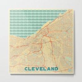 Cleveland Map Retro Metal Print