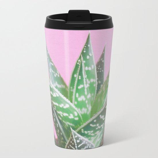 Pink Aloe Tiki Metal Travel Mug