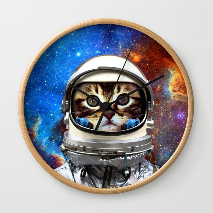 Astronaut Cat #2 Wall Clock