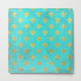 Queenlike on aqua I  Gold Heraldry elements on turquoise background Metal Print