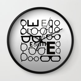 Eye Chart eyeglasses gray glasses Wall Clock