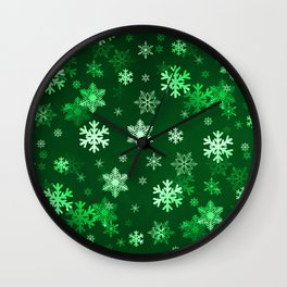 Dark Green Snowflakes Wall Clock