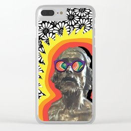 Sculture Wearing Wacky Marble Glasses Clear iPhone Case