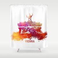 vienna Shower Curtains featuring Vienna skyline by jbjart