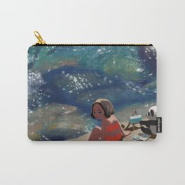 A Girl and Her Panda by the Seaside Carry-All Pouch