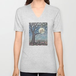 northern saw whet owls under the stars Unisex V-Neck