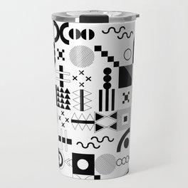 Memphis Black and White Playful Pattern Travel Mug