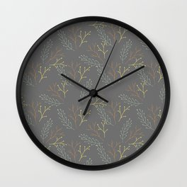 Autumn gray orange yellow green floral leaves Wall Clock
