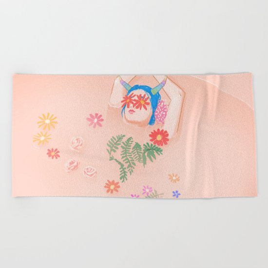 Flower Bath Beach Towel