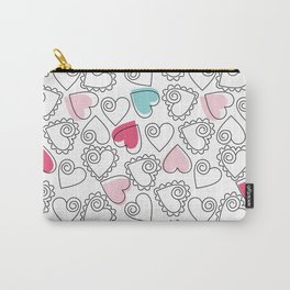 Valentine Hearts Pattern White Carry-All Pouch