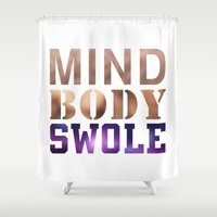 crossfit Shower Curtains featuring Mind, Body, & Swole by Free Specie