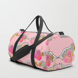Wings and Roses Blush Pink Duffle Bag