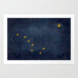Alaskan state flag - Grungy version  Art Print