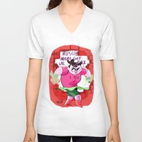 muscle V-neck T-shirts featuring MUSCLE MAMA by Your Pal Ched