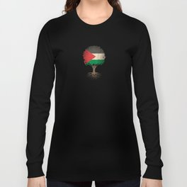 Vintage Tree of Life with Flag of Palestine Long Sleeve T-shirt