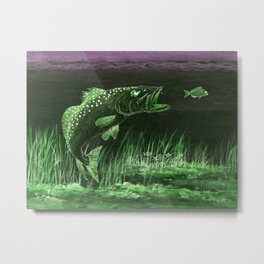 Trout Attack In Green Metal Print