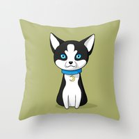 husky Throw Pillows featuring Husky by Freeminds