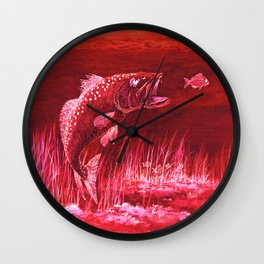 Trout Attack In Red Wall Clock