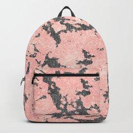 Trendy Rose Gold & Gray Glitter Marble Image Backpack