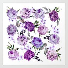 Elegant Girly Violet Lilac Purple Flowers Kunstdrucke