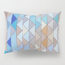 Triangle Pattern no.1 Blues and Browns Pillow Sham