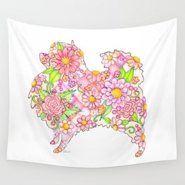 Pink Pomeranian Wall Tapestry