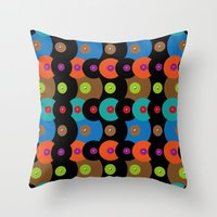 records Throw Pillows featuring Vinyl records by Helene Michau