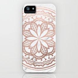 Marble mandala - soft rose gold on white iPhone Case