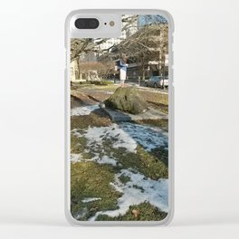 Girl on a Mountain Clear iPhone Case