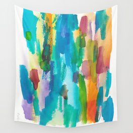 180812 Abstract Watercolour Expressionism 8  Colorful Abstract   Modern Watercolor Art Wall Tapestry