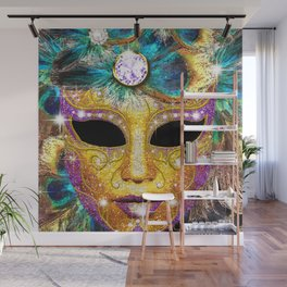Golden Carnival Mask Wall Mural