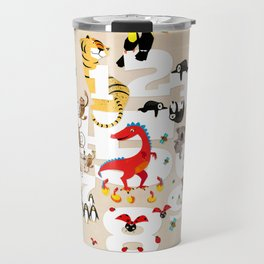 One Two Three Animals in the Kids Room – Illustration for boys and girls Travel Mug