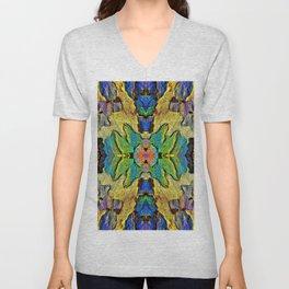 Colorful  Nature Wood Pattern Psychedelic Art Unisex V-Neck