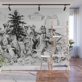 Vintage, Christmas Cat Poster by Louis Wain Wall Mural