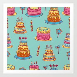 Birthday Cake Gift Pattern Candy Art Print