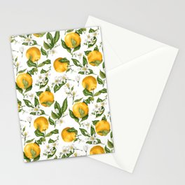 Citrus OrangeTree Branches with Flowers and Fruits Stationery Cards