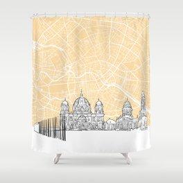Berlin Germany Skyline Map Shower Curtain