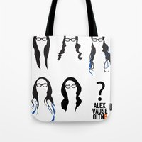 alex vause Tote Bags featuring Alex Vause Hairstyles by Zharaoh