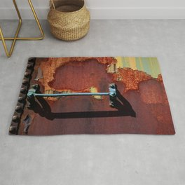 Rusting Boxcar Ladder Rung Abandoned Fine Art Photography Rusty Metal Railcar Railroad Rolling Stock Rug