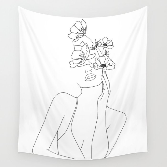 Minimal Line Art Woman with Flowers Wandbehang